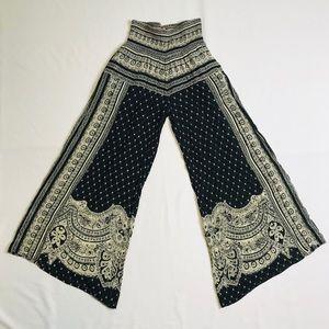Free People Wide Flair Leg XS Black White Pants